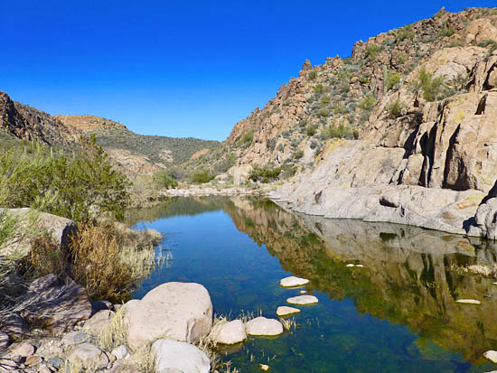 Cobbled washes and large pools in Boulder Canyon